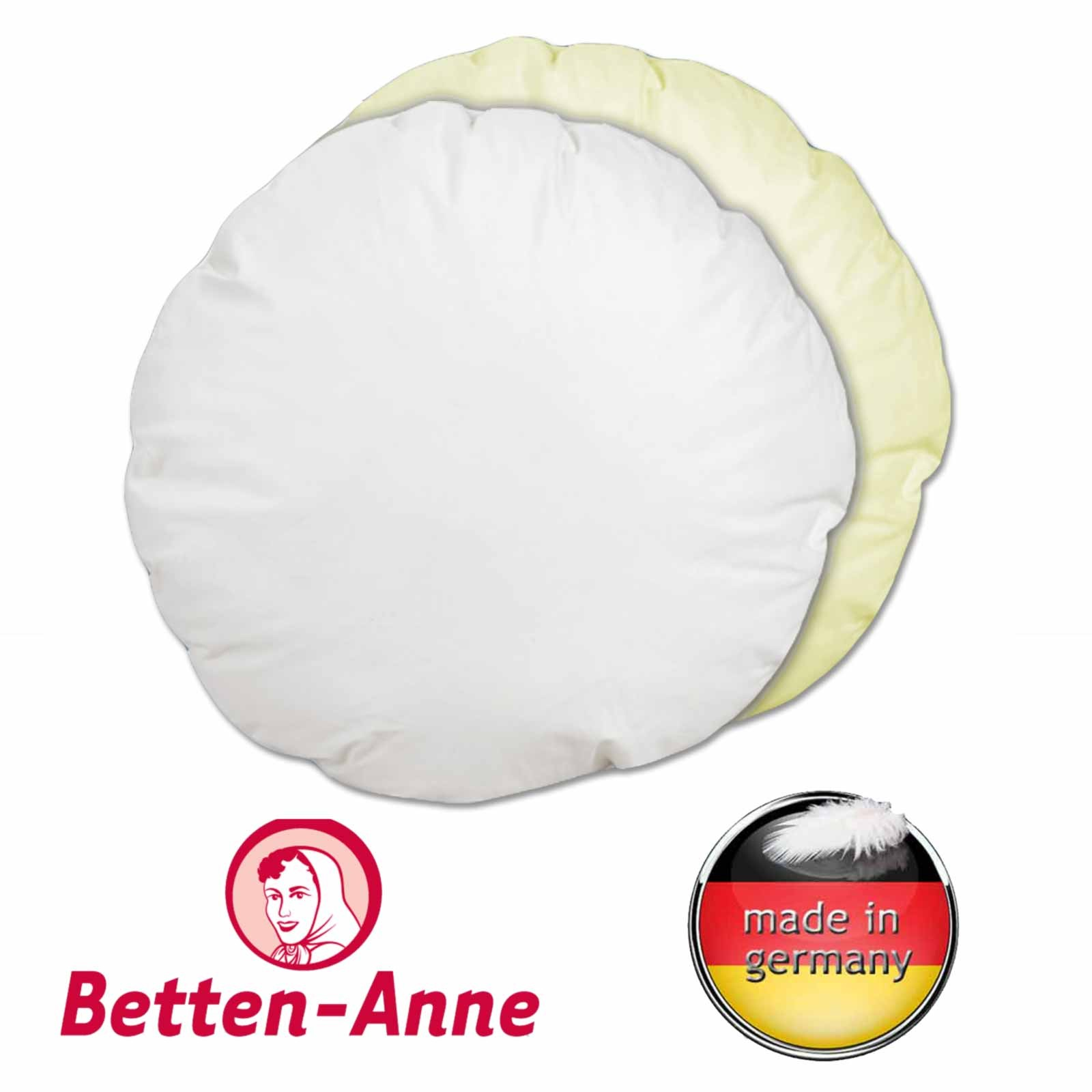 Rundes Sofakissen mit 50 cm Durchmesser, Baumwollbezug in weiß oder creme