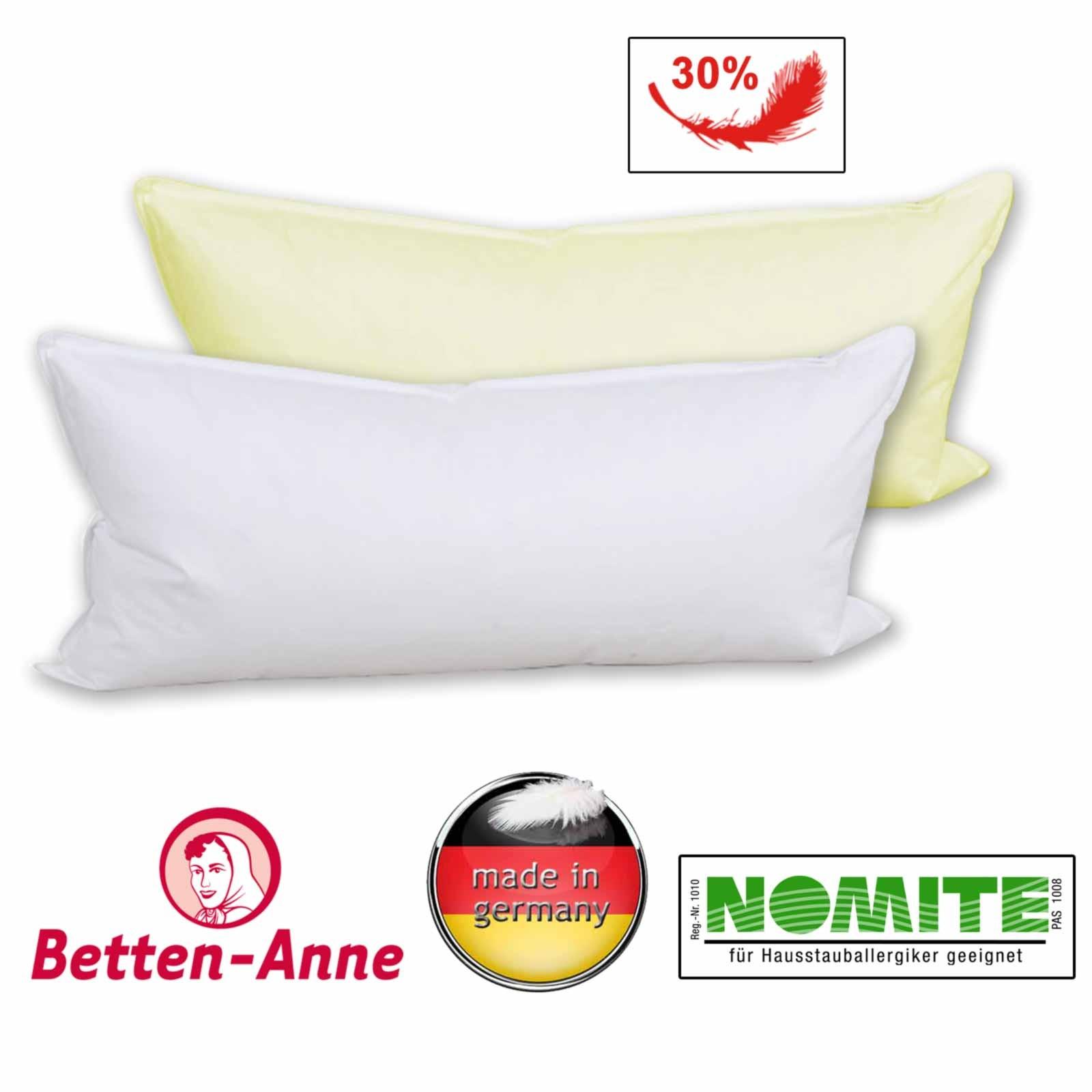 Kopfkissen 40x80 von Betten-Anne waschbar in weiß und creme 70% Federn 30% Daunen