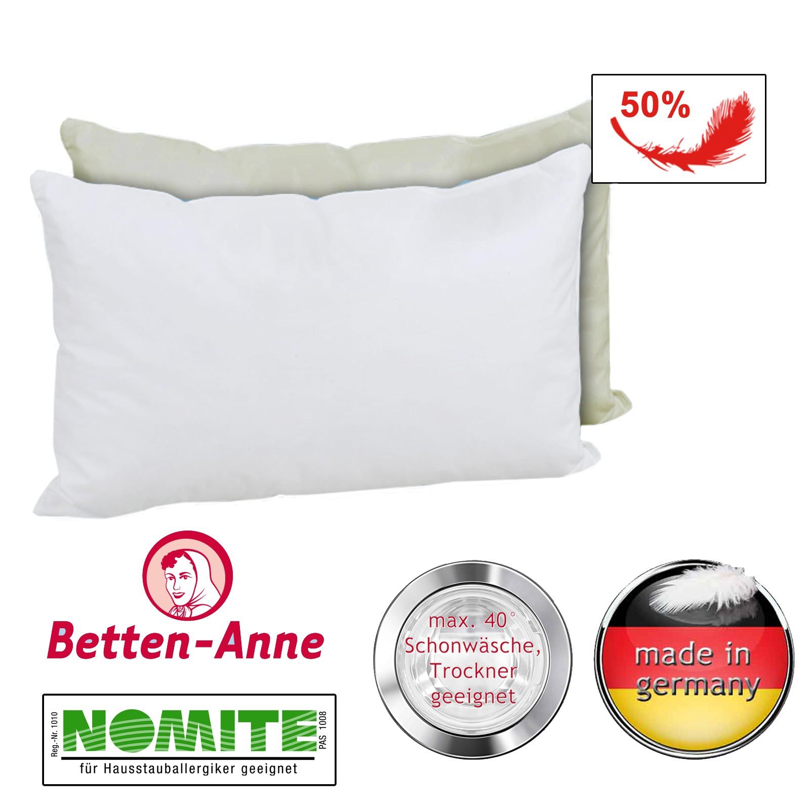 Daunenkopfkissen 40x80 in weiß und creme mit 50% Daunen und 50% Fdern gefüllt