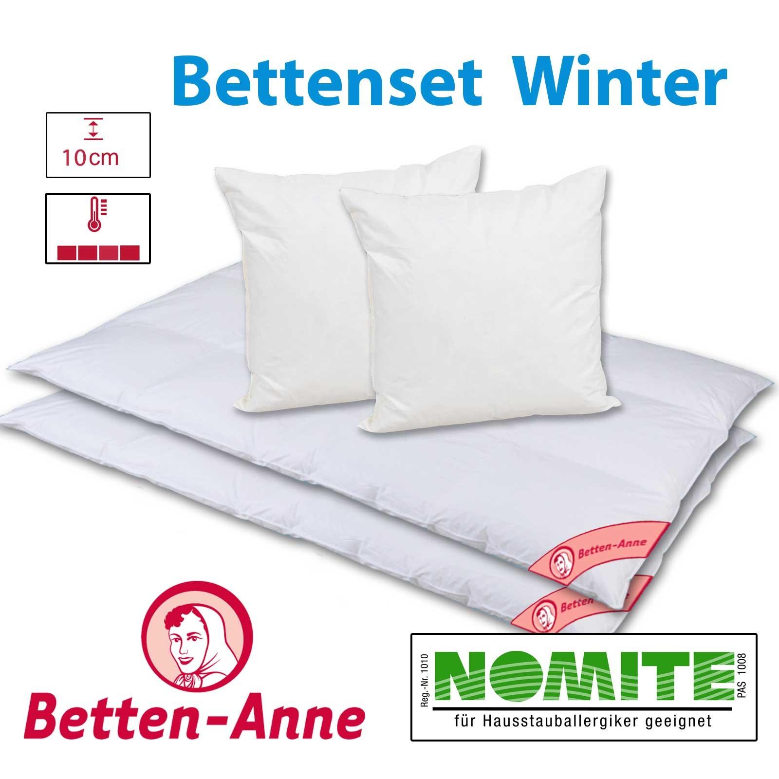 Bettenset Winter für 2 Personen mit Kassettendecken und 2 Kopfkissen