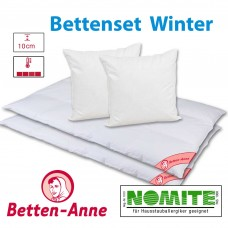 Bettenset Winter warm für 2 Personen 1320g+800g, 100% weiße Sächsische Daunen (Bett),  50% Daunen + 50 Federn (Kissen), 135x200+80x80cm